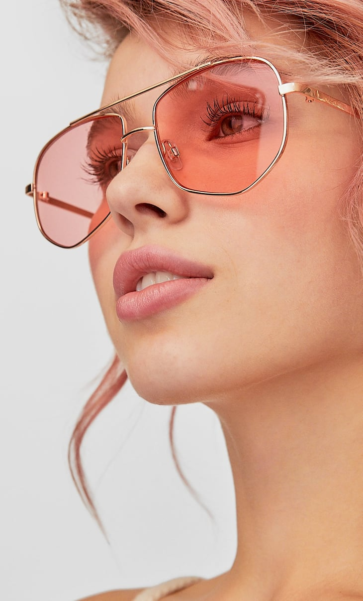 Pink geometric metal sunglasses