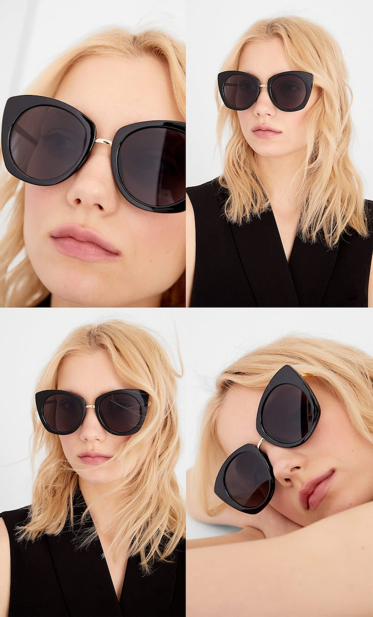 Cateye sunglasses with round lenses