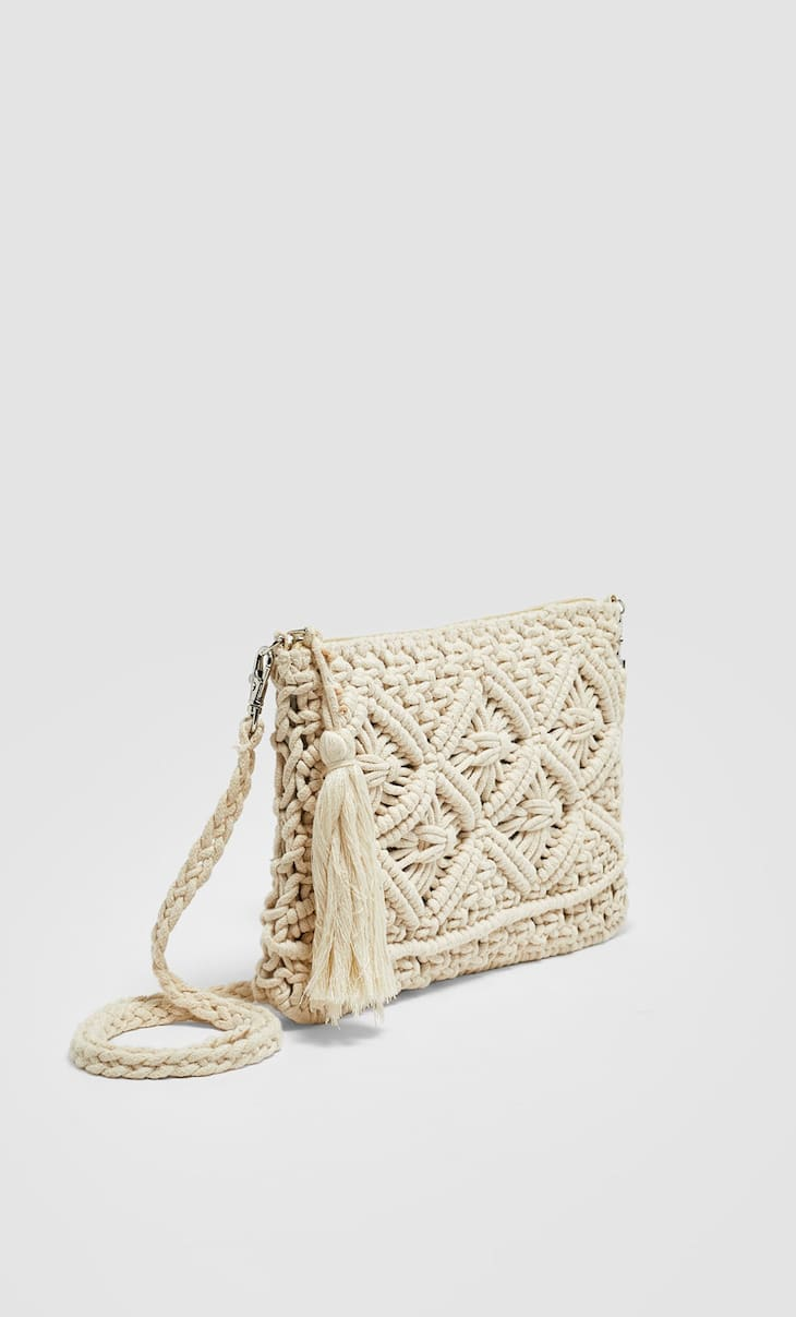 Macramé mini crossbody bag