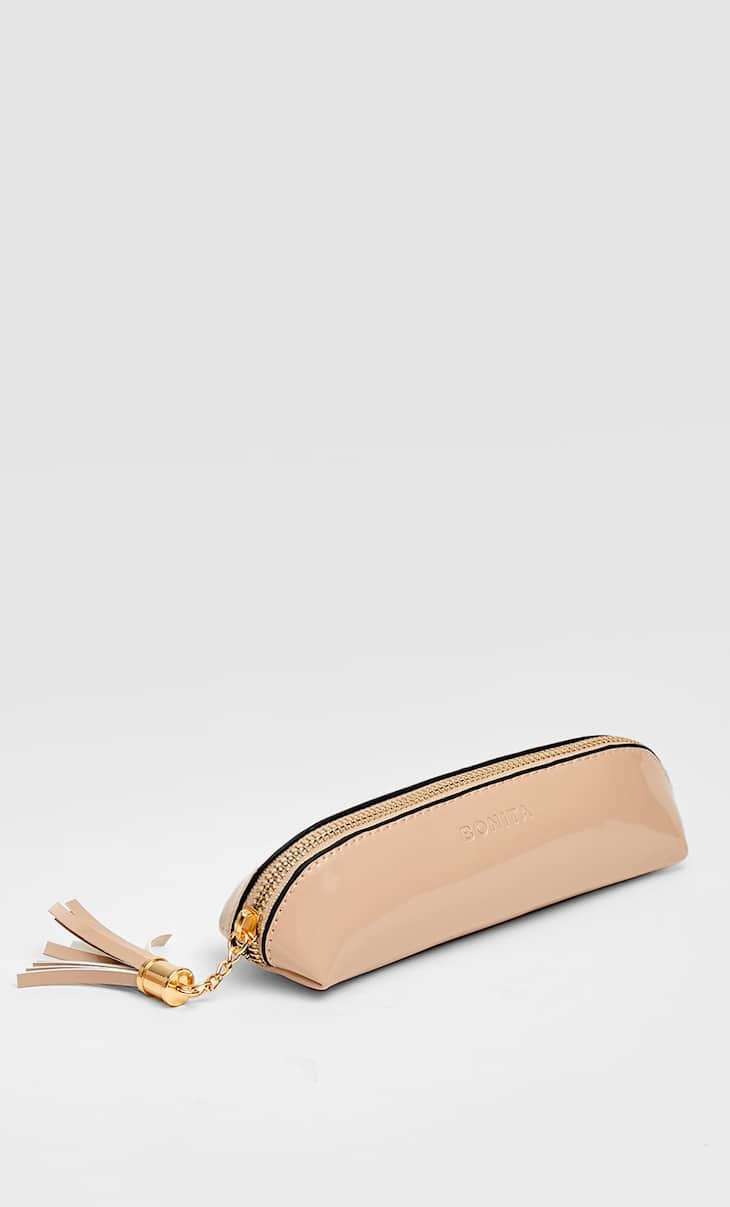 Faux patent leather pencil case