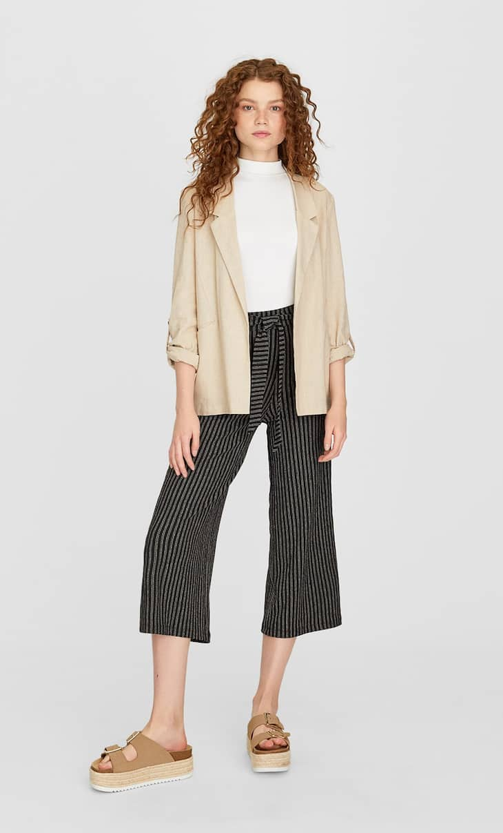 Belted knit culottes