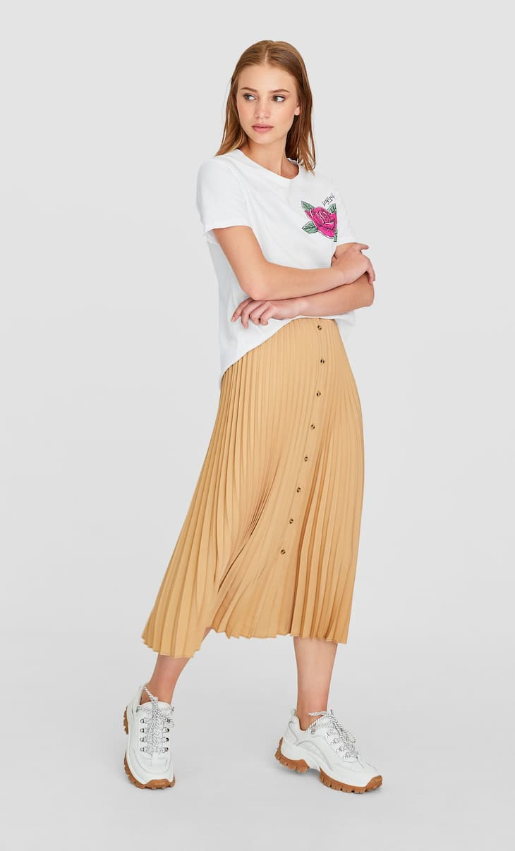 Pleated button-up skirt