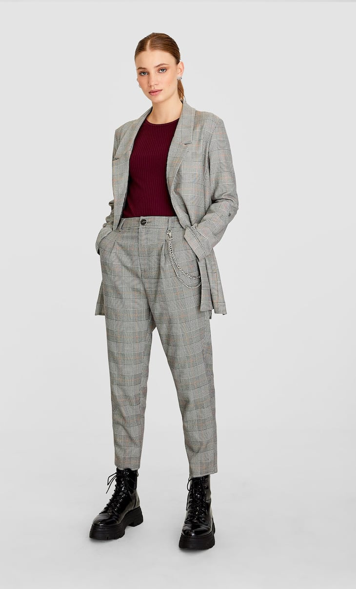 Textured trousers with chains
