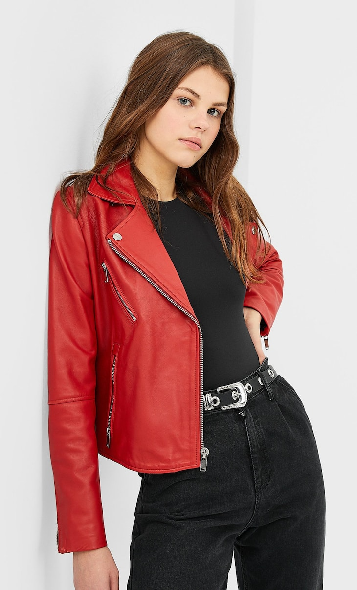 Leather biker jacket with zips