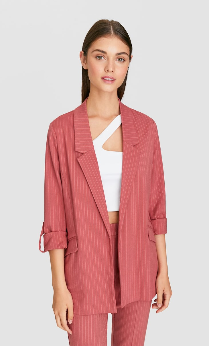 Striped flowing blazer