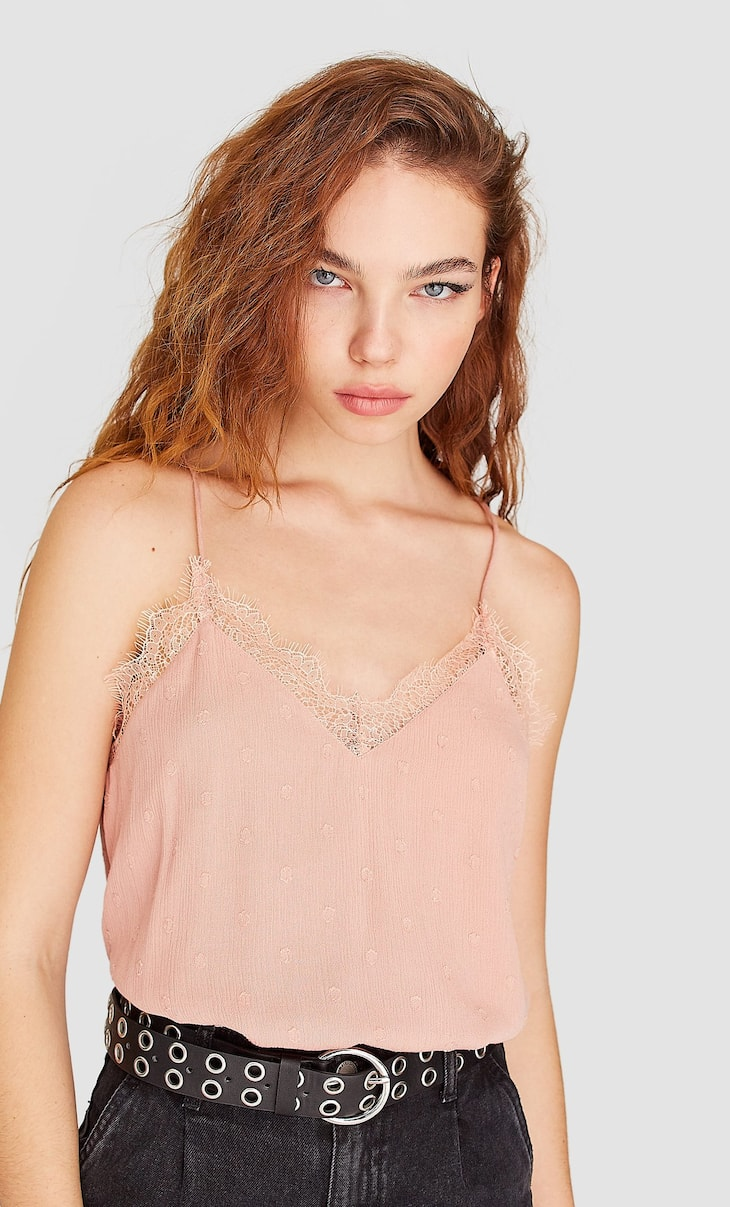 Blonde lace camisole top