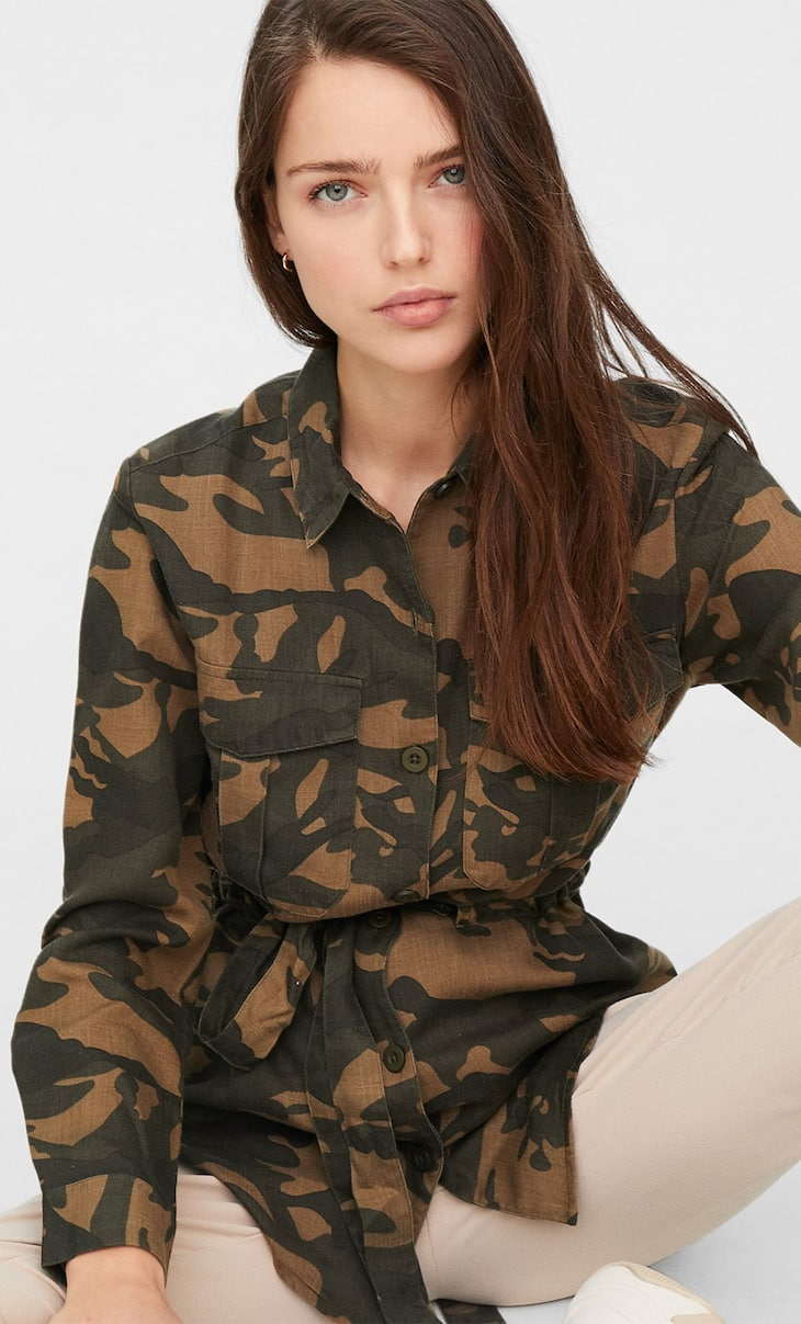 Camouflage print utility shirt
