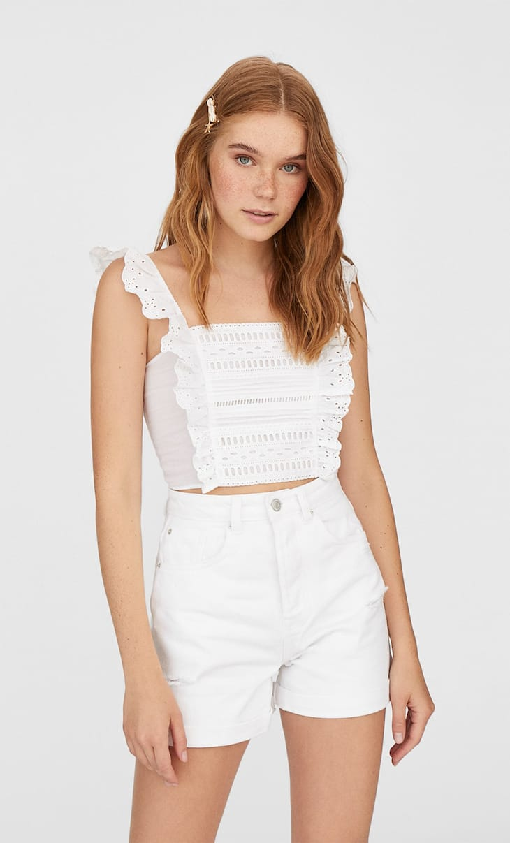 Ruffled strappy Swiss embroidery top