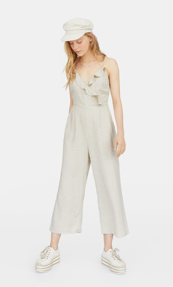 Ruffled linen jumpsuit