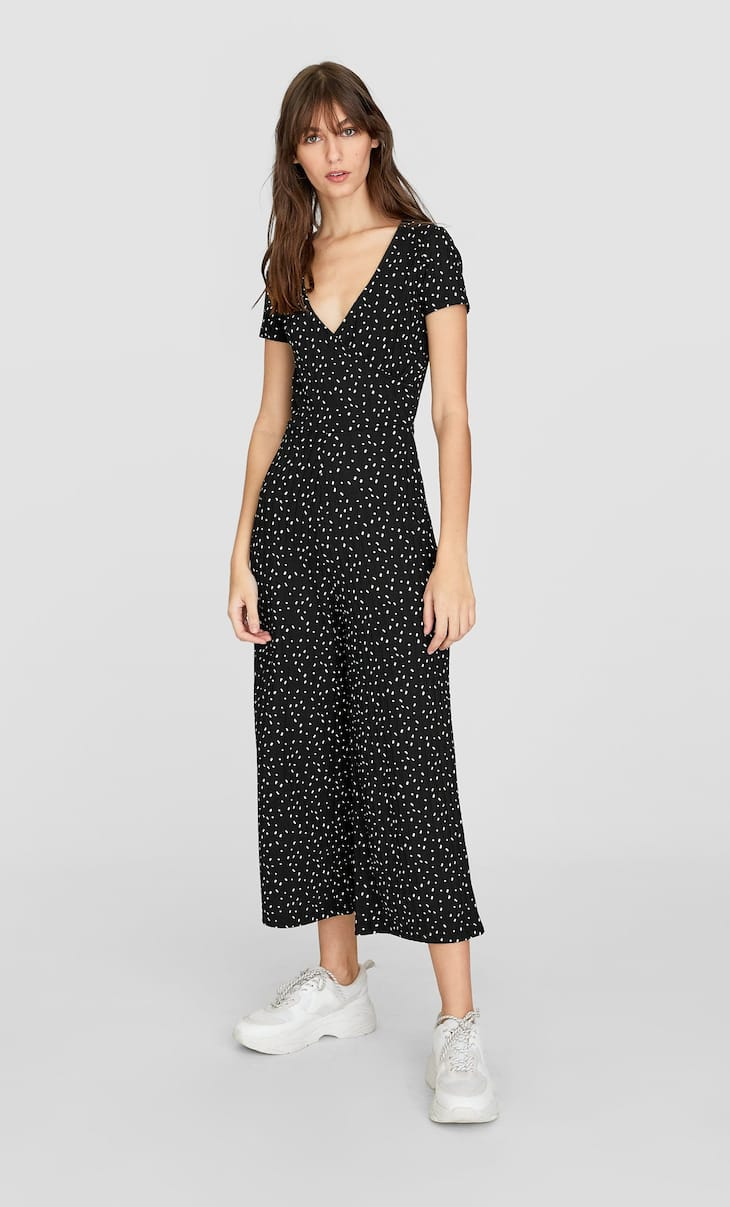 Ribbed long printed wrap jumpsuit