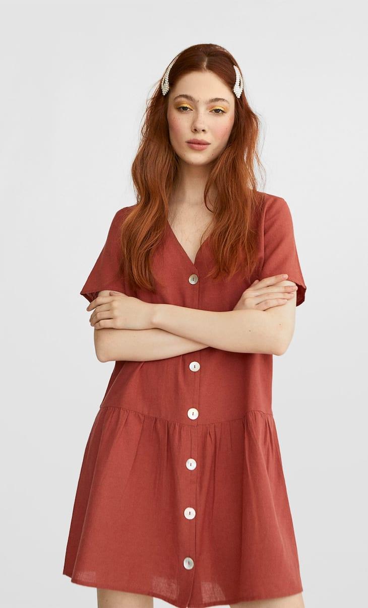 Vestido corto lino