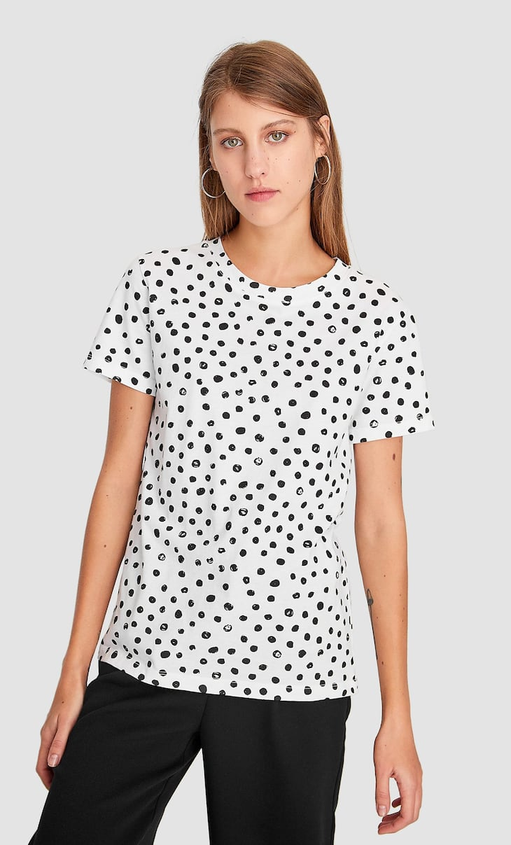 Short sleeve polka dot T-shirt