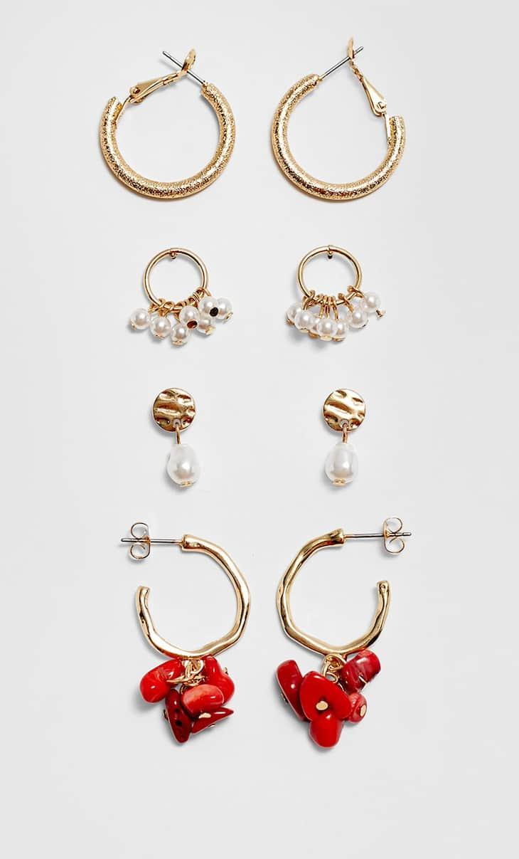 Set 4 pendientes perlas y piedras