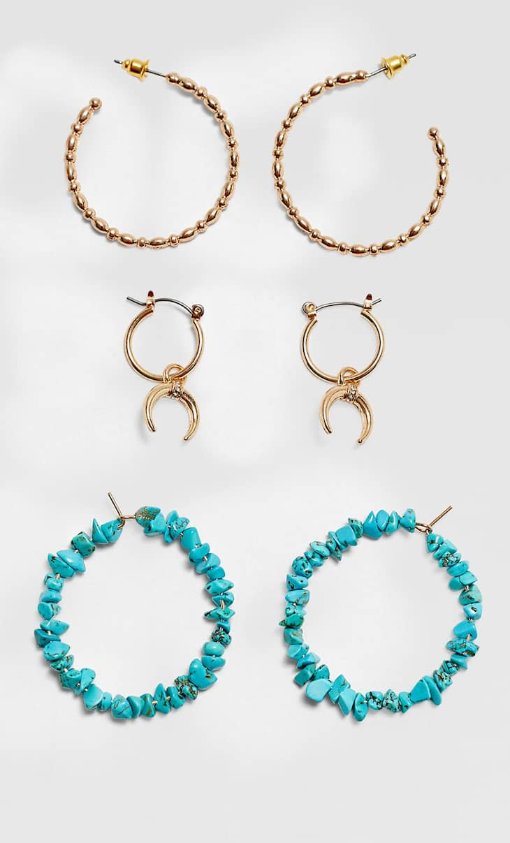 Set of 3 pairs of stone and metal hoop earrings
