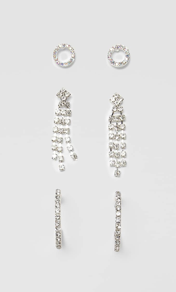 Set of 3 pairs of diamanté earrings