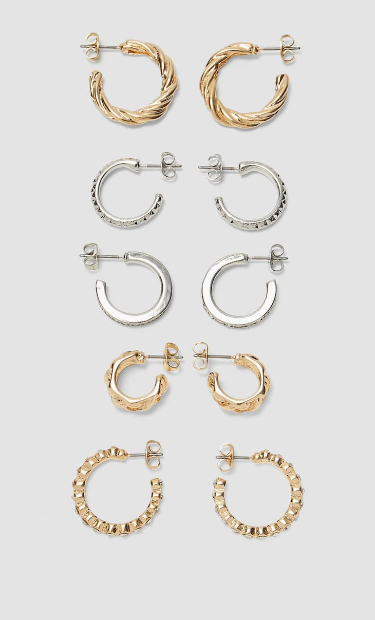 Set of 5 pairs of metal and crystal hoop earrings