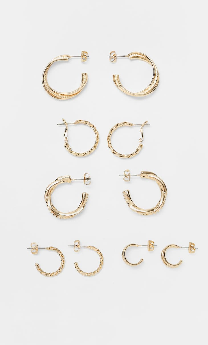Set of 5 pairs of medium hoop earrings