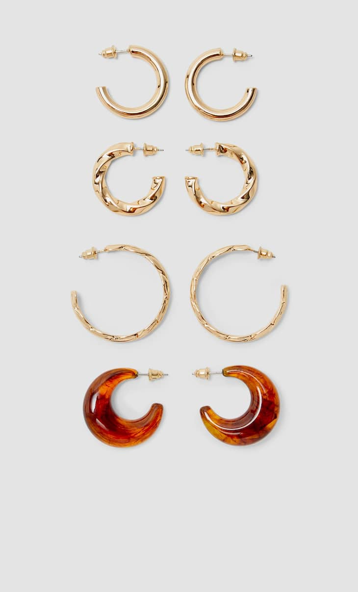 Set of 4 pairs of metal and resin hoop earrings