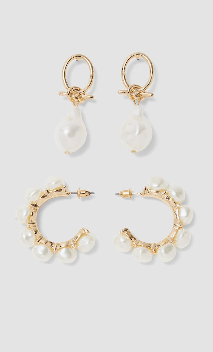 Set of 2 pairs of faux pearl earrings