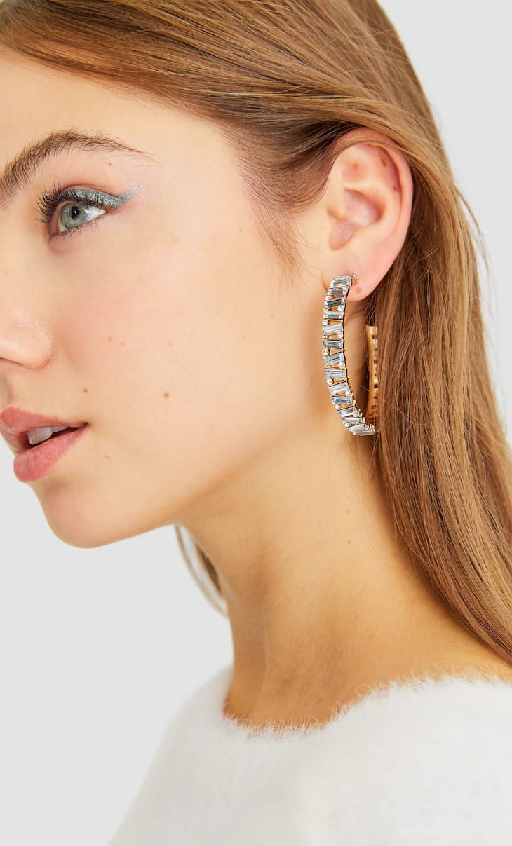 Coloured diamanté hoop earrings