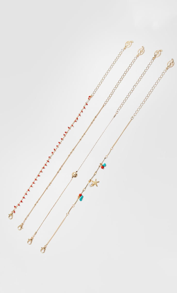 Set of 4 thin anklets