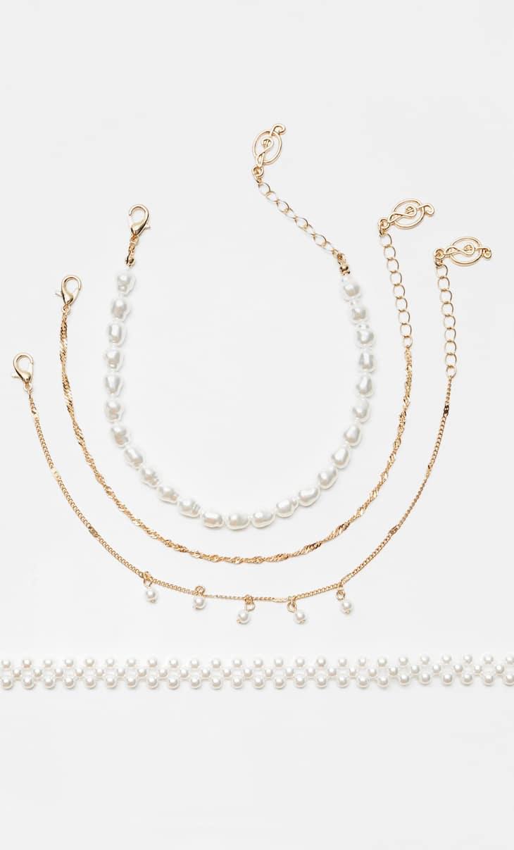 Set 4 tobilleras perlas