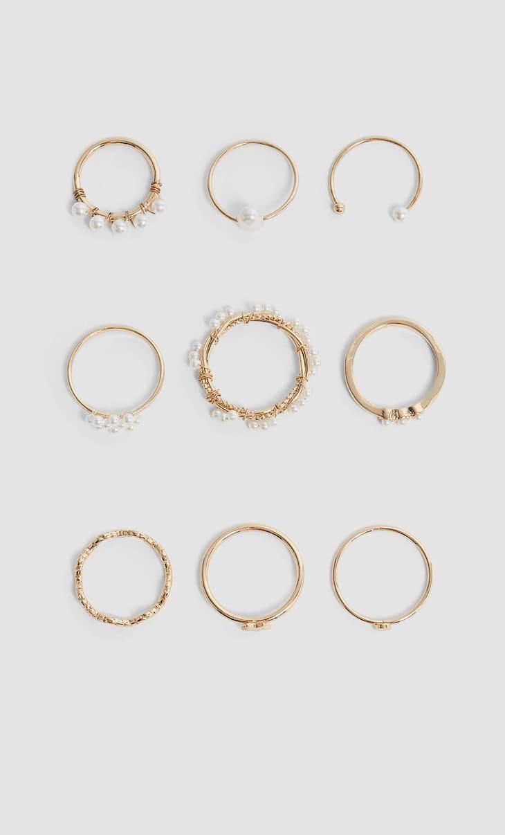 Komplet 9 pierścionków z perłami