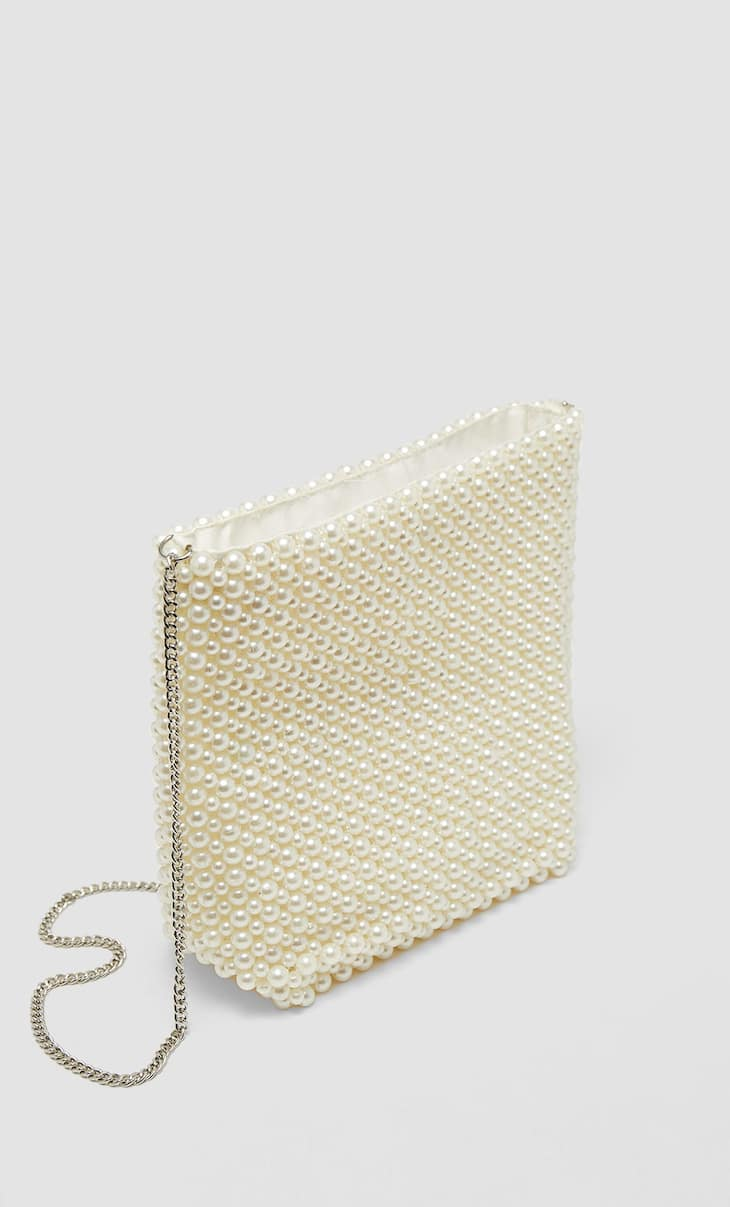 Crossbody bag with faux pearls