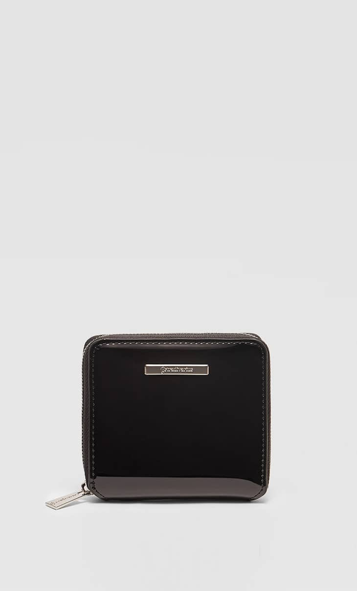 Square patent finish purse