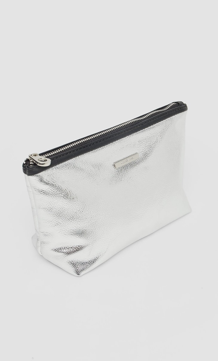 Silver toiletry bag