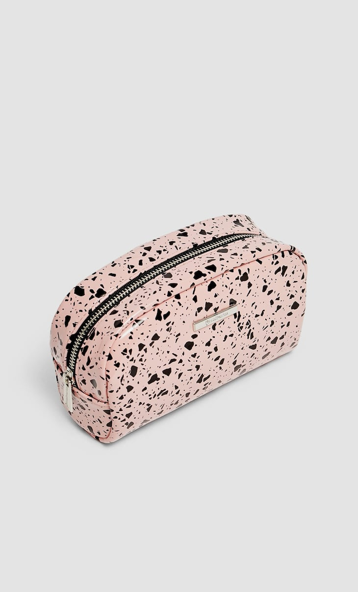 Printed patent finish toiletry bag
