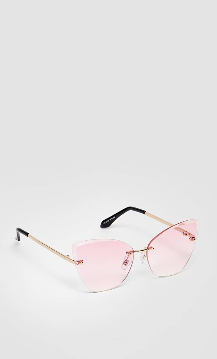 Pink rimless cat eye sunglasses