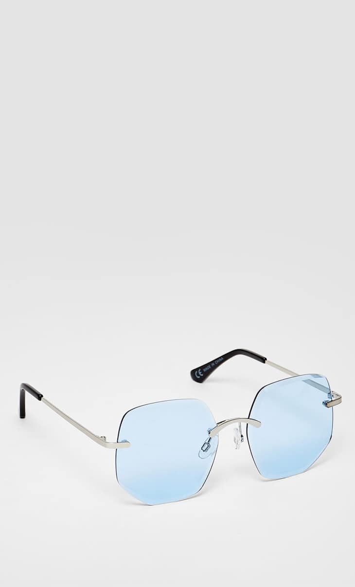 Rimless hexagonal sunglasses