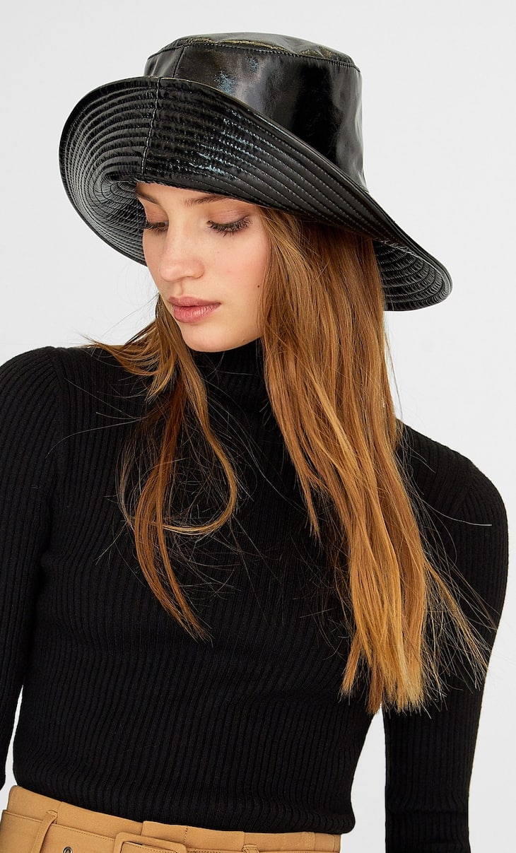 Faux patent leather bucket hat