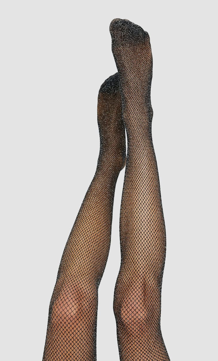Metallic thread mesh tights