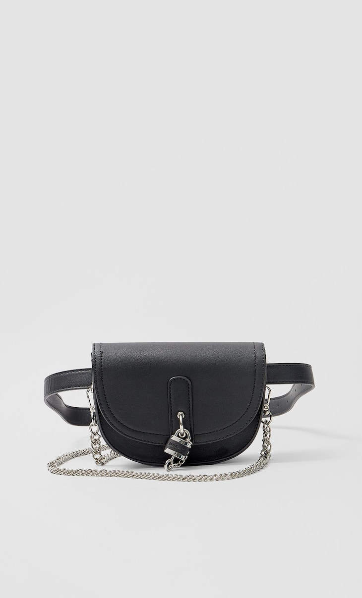 Crossbody belt bag with padlock