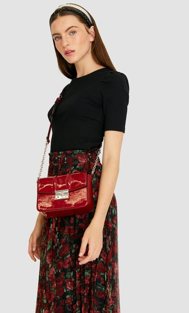 Faux patent leather crossbody bag