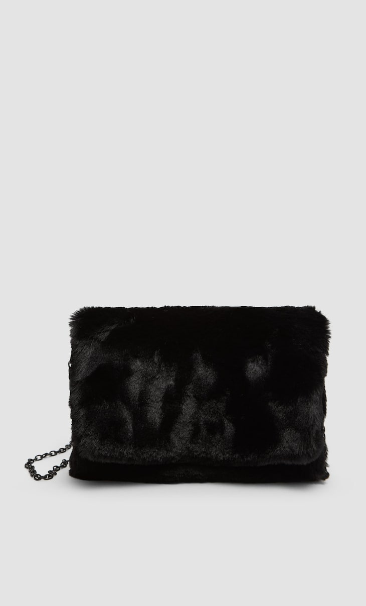 Faux fur crossbody bag with chain