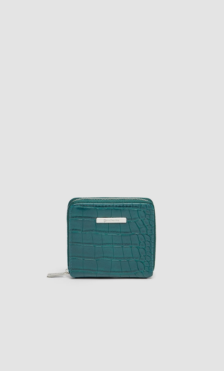 Mock croc square purse