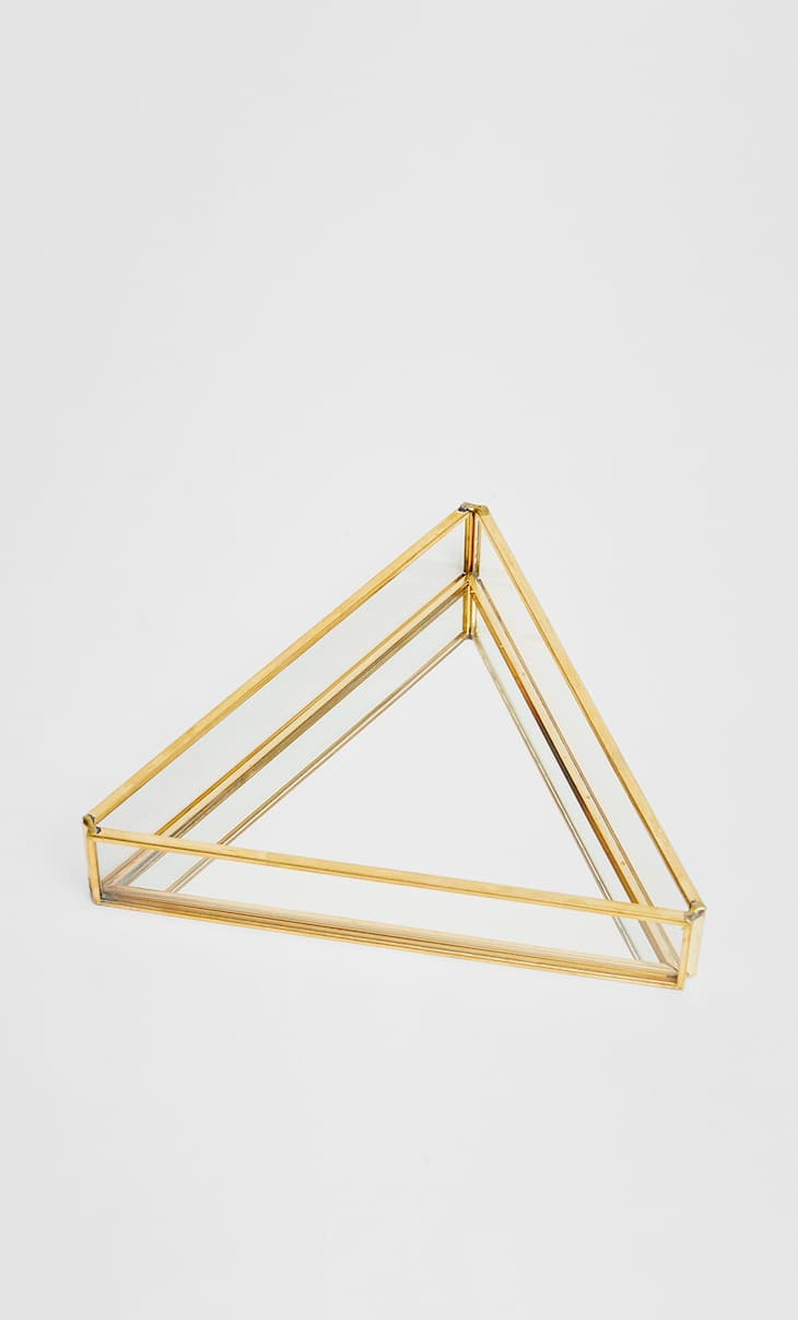 Triangular mirrored dish