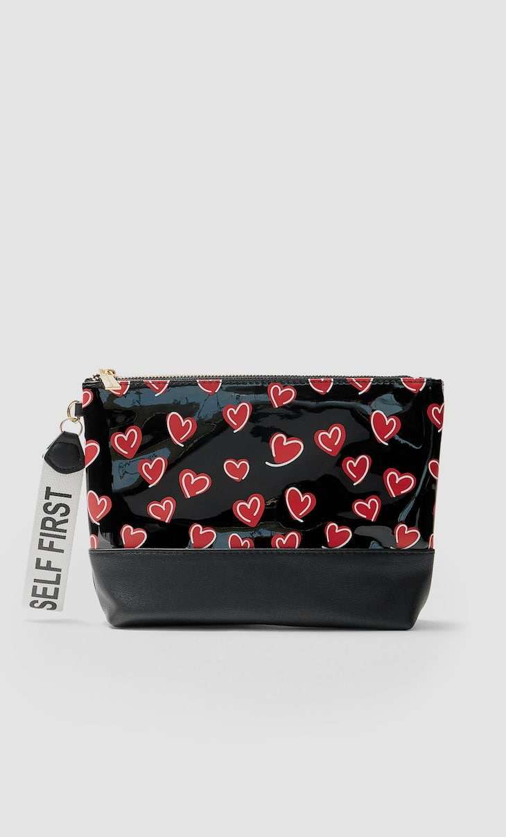 Large heart print toiletry bag