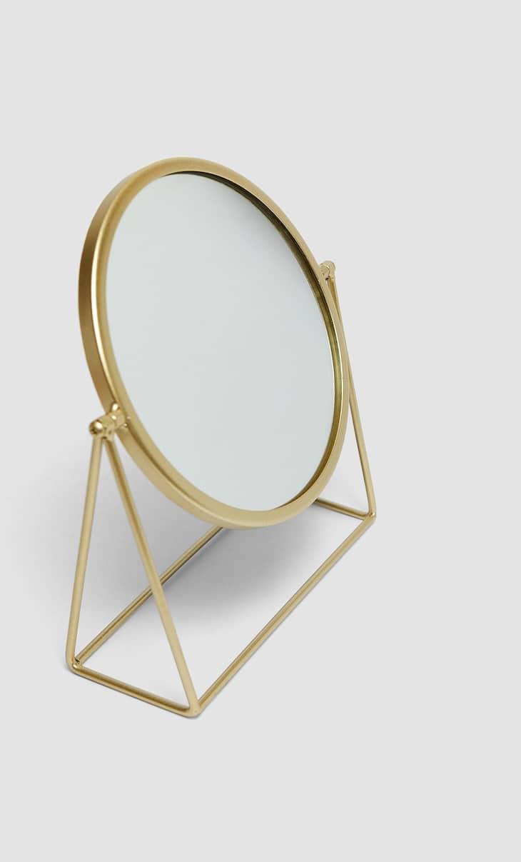 Runder Tischspiegel mit goldenem Ständer