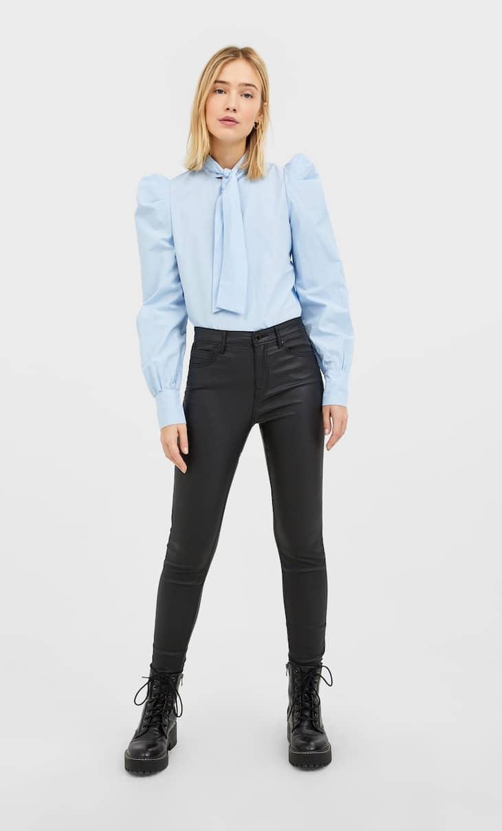 Coated high waist trousers