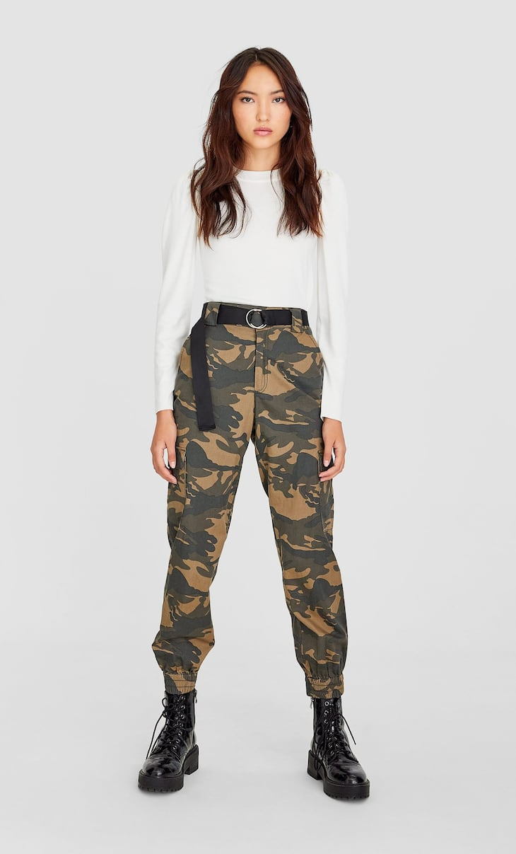Camouflage print cargo trousers with cuffed hems