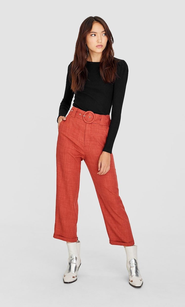 Rustic straight-fit trousers