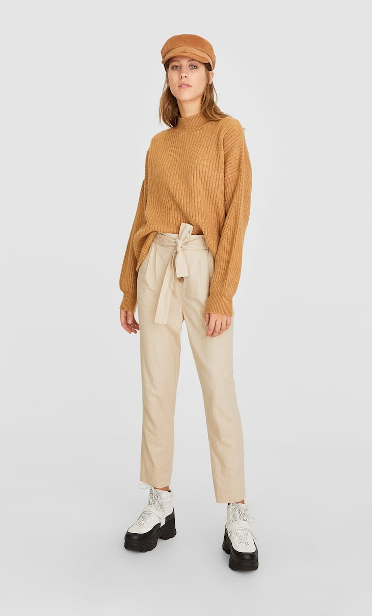Plain rustic baggy trousers