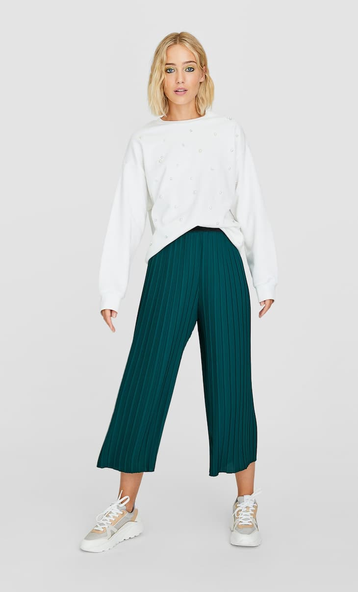 Pleated culottes with elastic waistband
