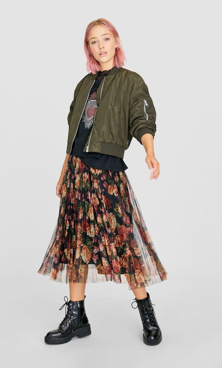 Printed pleated tulle skirt