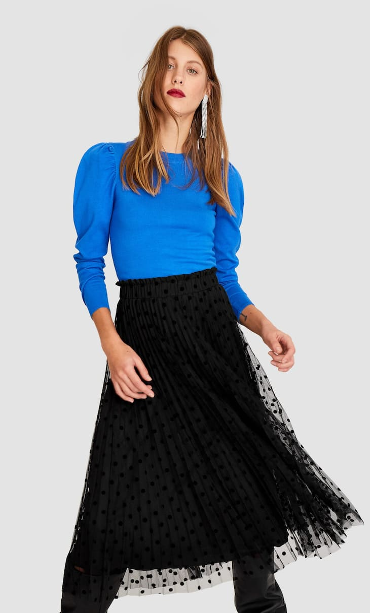Pleated tulle skirt