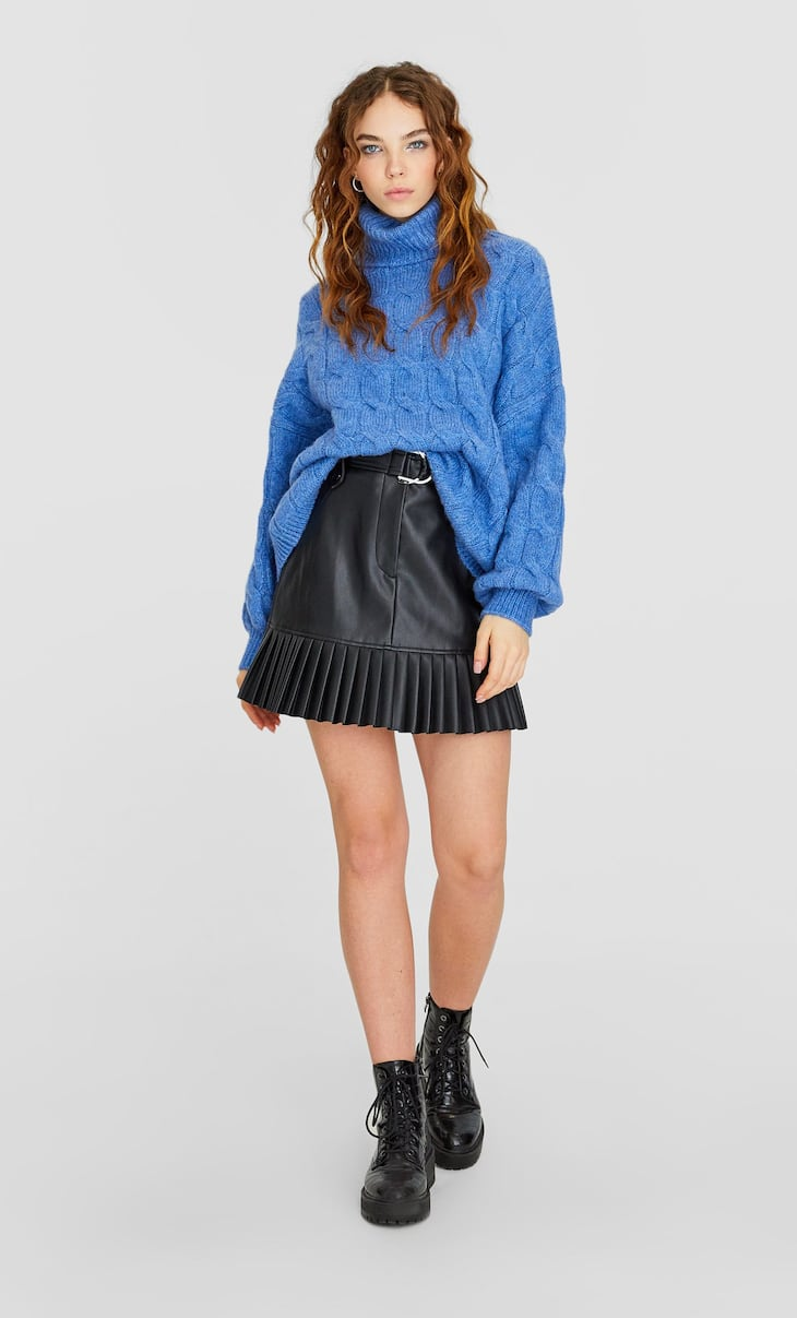 Faux leather skirt with pleated hem